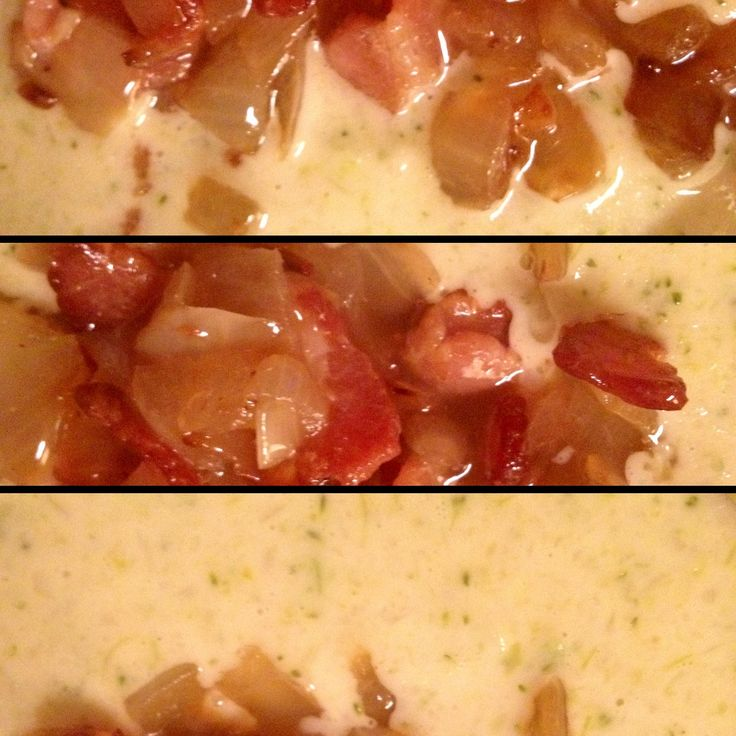 Broccoli Cheese (and Bacon!) Soup Ingredients 1 lb chopped bacon 1 ...