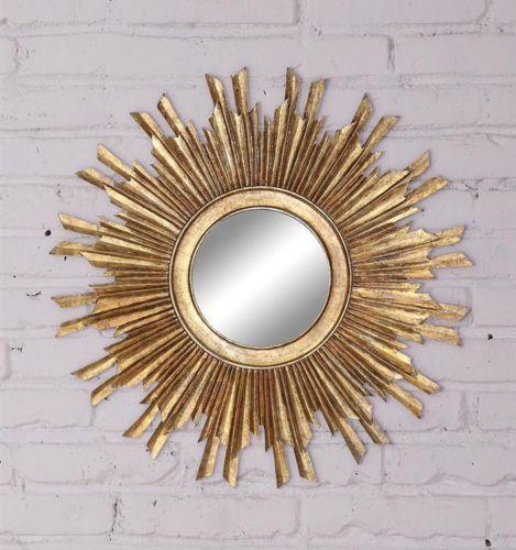 Large sunburst round wall mirror antique mid century for Large round gold mirror