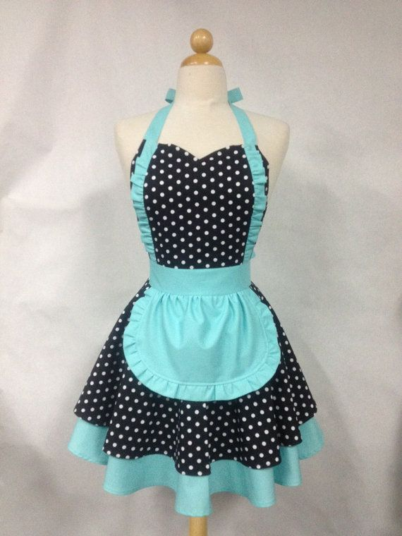 French maid apron polka dot with aqua retro full apron for Apron designs and kitchen apron styles
