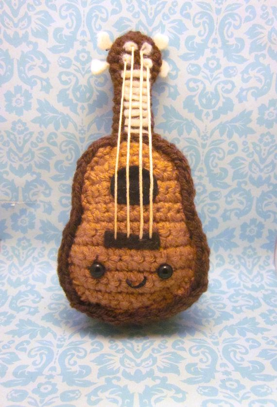 Free Pattern Crochet Guitar : Kawaii Ukulele or Guitar Amigurumi Crochet Doll
