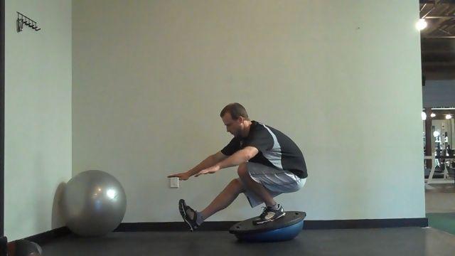 Pistol on a Bosu Ball - One Leg Squat | BOSU! | Pinterest