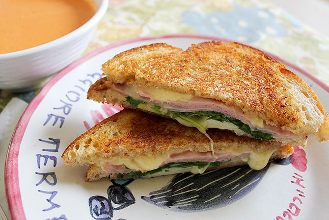 ... ham and gruyere cheese sandwiches, pressed with thin slices of pear