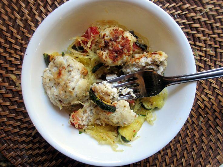 Goat Cheese Stuffed Chicken Meatballs with Spaghetti Squash & Basil G ...