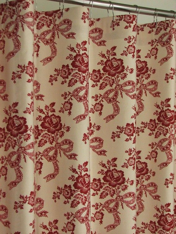 Red & Beige Floral Shower Curtain 72 x 72 by PondLilly on Etsy