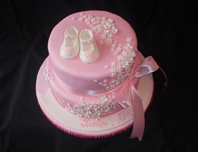Christening / Baptism - Pink floral baptism cake by Montreal ...