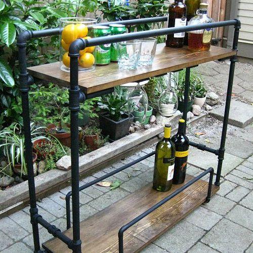 DIY bar cart made from pipes!