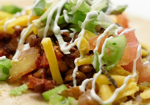 "Tacos with Spicy Lentil ""meat"" 
