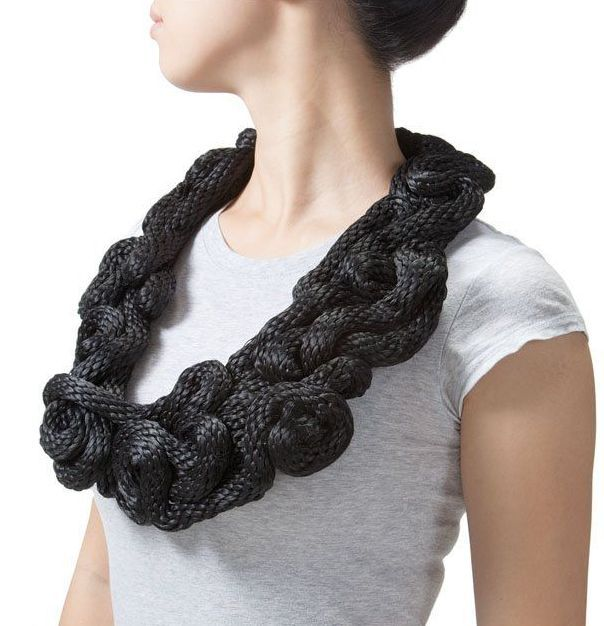 Yuni Kim Lang - Cranbrook Academy of Art, Bloomfield Hills, USA - necklace (damaged), Black Knots, 2012, polypropylene rope