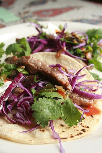 Sirloin steak tacos with red cabbage | edible | Pinterest