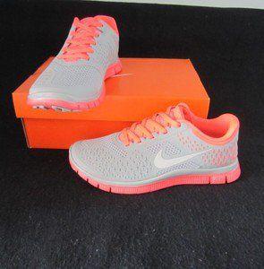 womens nike free run 4 0 v2 running shoes gray neon pink