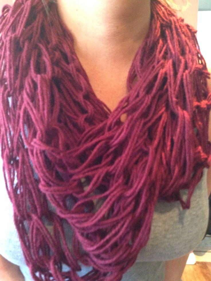 Arm knitting infinity scarf crotchet pinterest