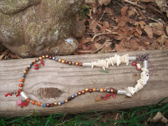 Elegant hand beaded necklace 'fire' by tanyaminottjewelry on Etsy, $35.00