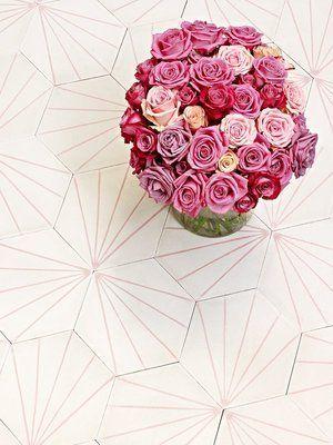 """Svenska Marrakech och CKR utvecklade för ett par år sedan en fin kollektion stenplattor med moderna mönster, här min favorit """"Dandelion""""."""
