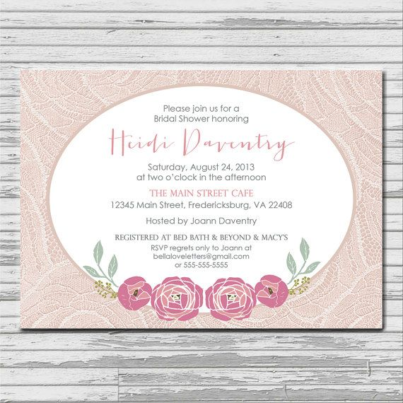 PINK ROSE shabby chic bridal shower invitation by bellaloveletters
