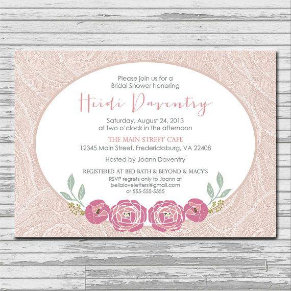 PINK ROSE shabby chic bridal shower invitation by bellaloveletters
