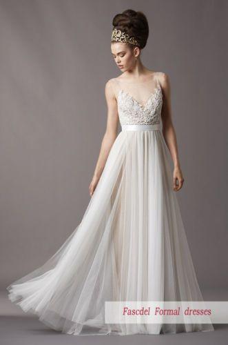 2014 Neu Weiß / Ivory A-Linie Brautkleider HochzeitskleidGröße