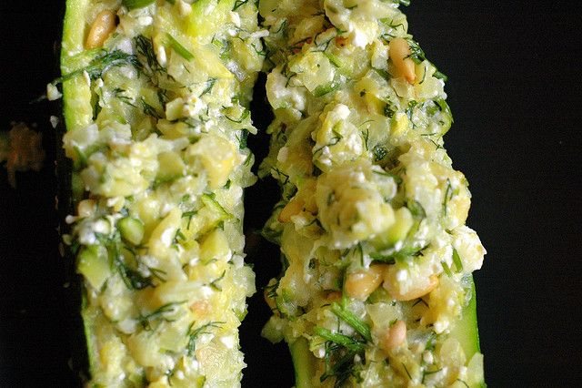 zucchini stuffed with feta, pine nuts and dill
