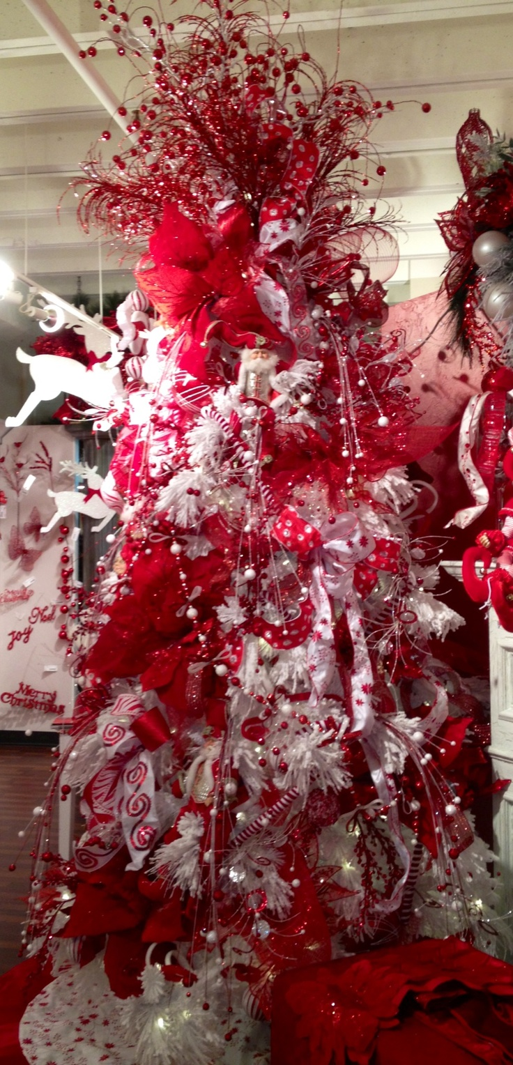 Red and white whimsical christmas tree holidays pinterest Red white christmas tree