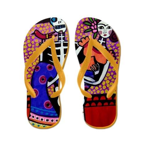 Heather Galler Frida Kahlo Day of the Dead Flip Flops ☆