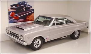 """1967 """"SILVER BULLET"""" ('67 Plymouth Belvedere GTX)     The Silver Bullet drag car is powered by a 426 HEMI® bored and stroked to 487 c.i.d. with other modifications that permit quarter-mile times in the mid-10-second range with top speed close to 140 mph."""