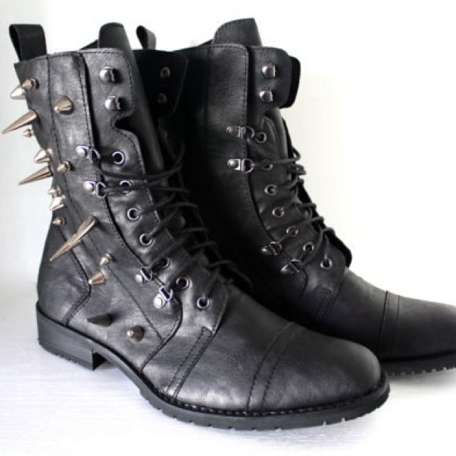 mens spiked faux leather combat boots exclusively boots