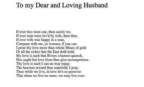 my dear and loving husband essay Technical analysis of to my dear and loving husband literary devices and the technique of anne bradstreet.