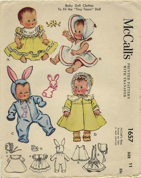 Vintage Doll Clothes Sewing Pattern | Baby Doll Clothes to fit the Tiny Tears Doll | McCalls 1657 | Year 1951 | Doll Size 11 (Head 9-1/2, Neck 5-1/8, Chest and Waist 8-1/8) my-vintage-doll-clothes-sewing-patterns
