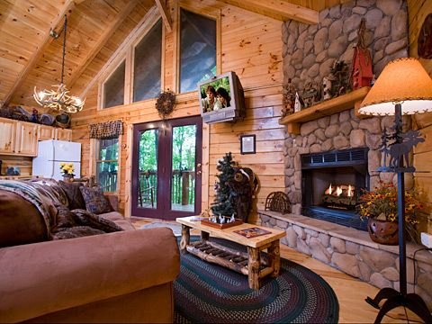 Pin by sissi crain cruce on ideas for the new house for Log cabin living room ideas