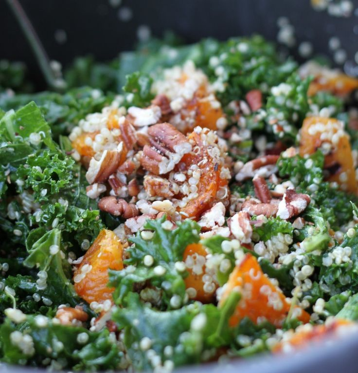 Roasted Butternut Squash With Kale And Almond Pecan Parmesan Recipes ...