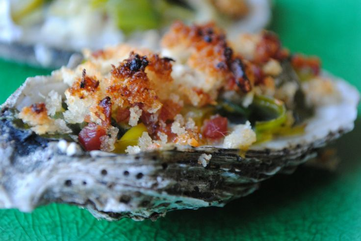 roasted oysters w/ bacon & leeks via threemanycooks.com