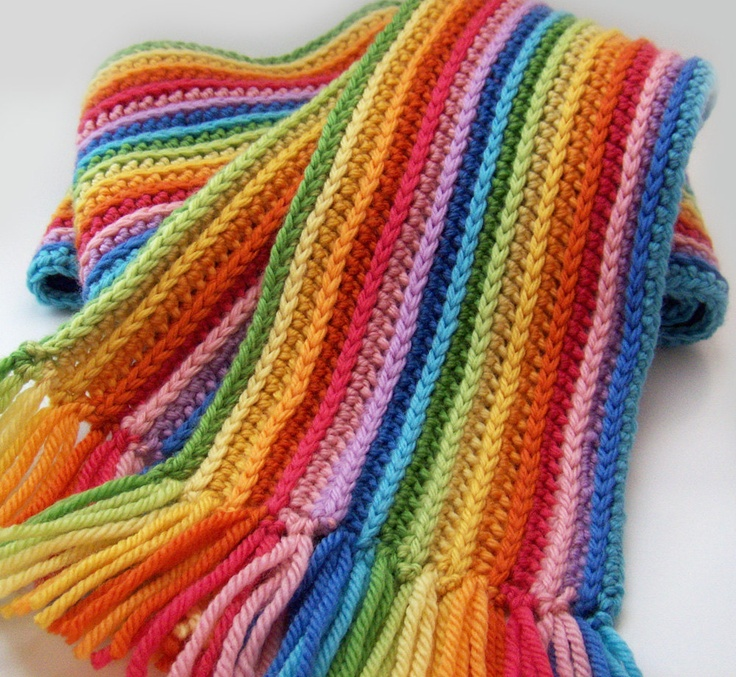 Woolen Crochet : Striped Rainbow Scarf--would be a cool pattern/colors for an afghan