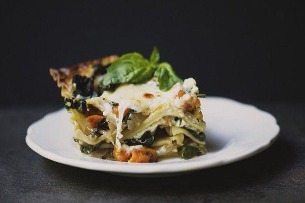 Roasted butternut squash, sautéed spinach & caramelized onion lasagna
