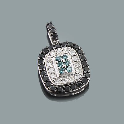 This 14k white blue black diamond pendant showcases 1 83 carats of