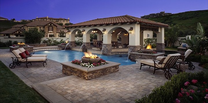 Pool with Outdoor Living Patio Ideas
