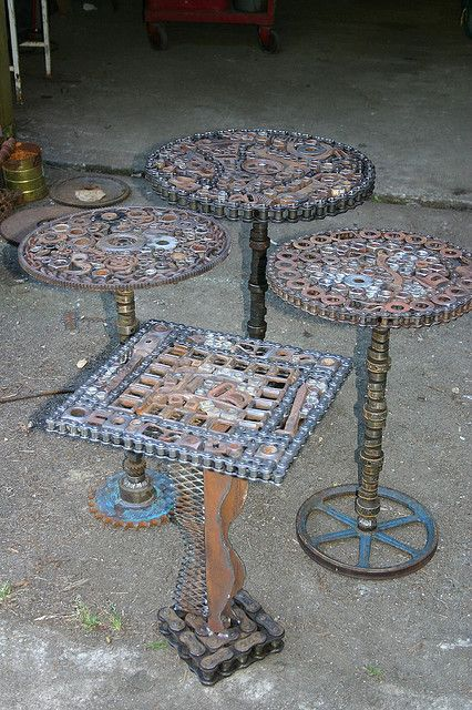 Welded tables twisted steel pinterest for Welded garden art designs