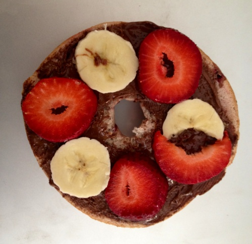 blueberry bagel with nutella, strawberries & banana