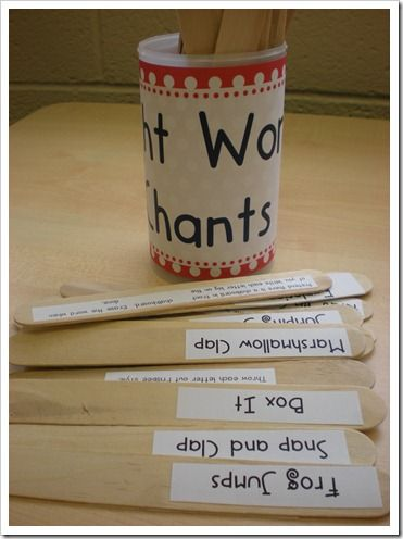 Sight word chants...downloadable pdf for making your own sticks.  really great idea!