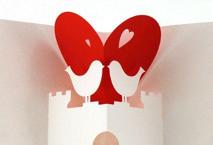 Partecipazioni di nozze pop-up con colombe // Pop-up wedding ...