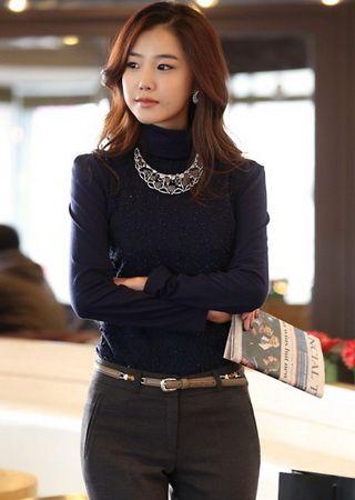 Korea Fashion Fur Ball Sequins High Collar Shirt