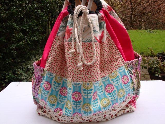 Large Patchwork Craft storage bag - crochet - knitting