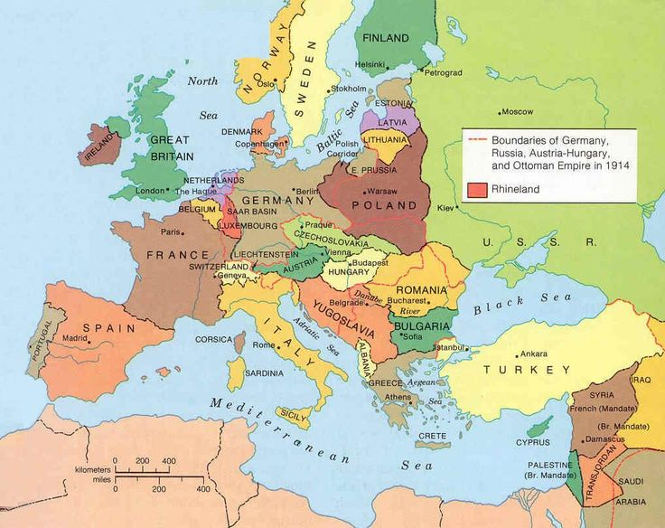 map of europe after versailles treaty