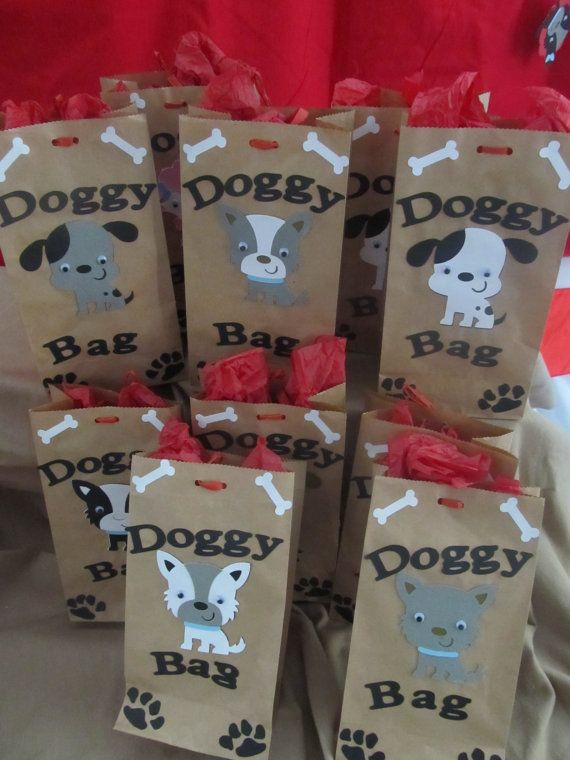 goody bags for puppy party Write doggie bag on favor bags