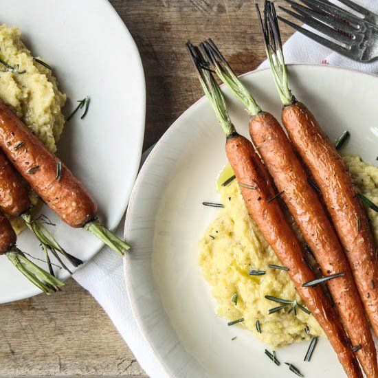 Rosemary Roasted Carrots with Rutabaga Puree.