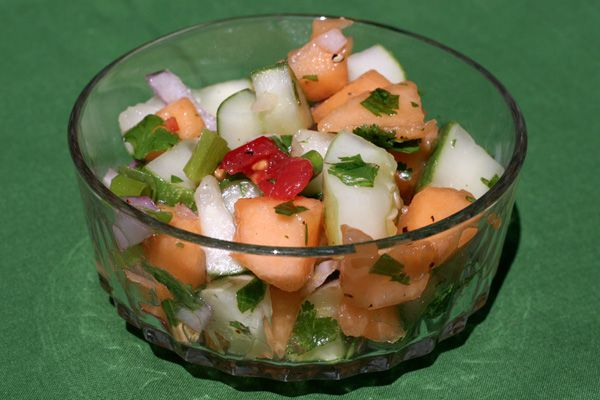spicy cantaloupe cucumber salad recipe dishmaps spicy cantaloupe ...