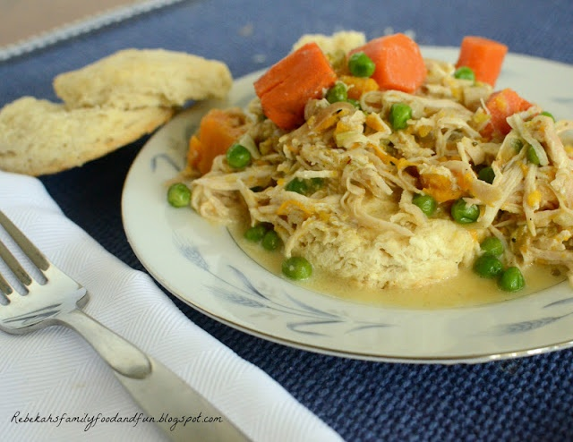Creamy Slow Cooker Chicken and Biscuits . Perfect for rainy day