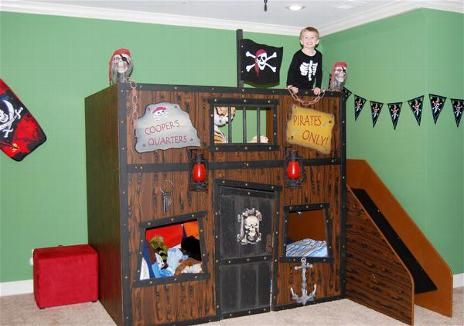 Pin by sierra orr on peter pan nursery kid 39 s room pinterest for Pirate bed with slide