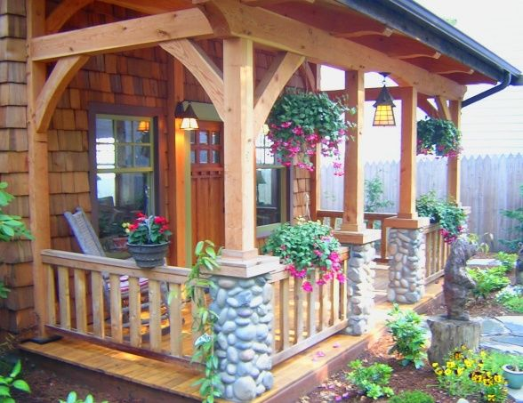 Whispering Waters Timber Frame Front Porch Timber Frames