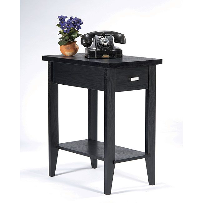 Furniture of america catrin black wood miniscule end table for Tall slim side table