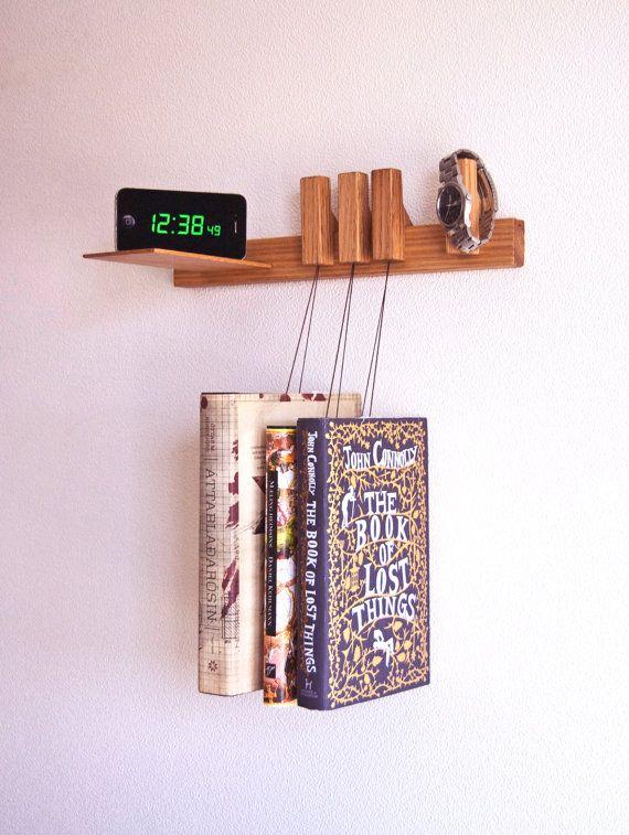 Nightstand in Oak. Floating bedside table. Hanging bedside rack
