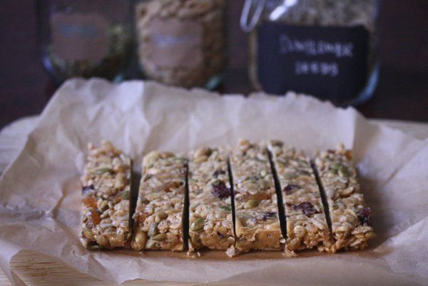 "Back-to-school ""granola"" bars from @Phoebe Lapine. Sub almond butte..."